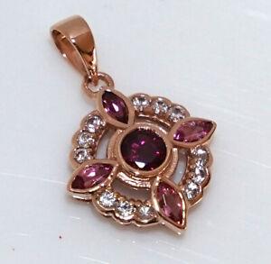 Genuine 9K Rose Gold Natural Rhodolite, Pink Tourmaline & White Sapphire Pendant