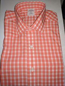 Mens BROOKS BROTHERS Orange Check Slim Fit Non Iron Dress Shirt 15- 34/35