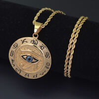 Luxury Defined Eye of Horus HUGE Mythical Pendant in Stainless Steel/Gold