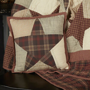 """VHC Brands Country 12""""x12"""" Pillow Red Thanksgiving Patchwork Star Bedroom Decor"""