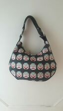 "BRACCIALINI Canvas Print ""Clown Face"" & Black Leather Tote Hobo Shoulder Handbag"
