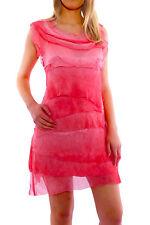 Ärmellose knielange Damenkleider aus Baumwollmischung ohne Muster