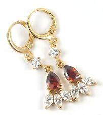 Women's 24 Carat Gold Filled Red and clear Zircon Drop Dangle Huggie Earrings