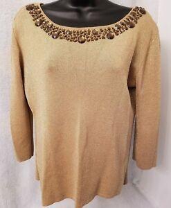 Joseph A Womens Gold Glitter With Gem Shirt Top Blouse Size XL