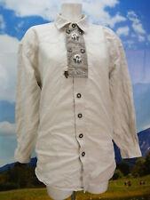 Gr.L Trachtenhemd Solo Leinen beige Edelweiß Stickerei Trachten Hemd TH1600