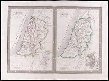 1841 - Folios antiguas Palestina (Monin). Antigua map of PALESTINA (Bíblico)