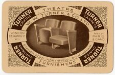 Playing Cards 1 Swap Card - Old Vintage TURNER Theatre Furnishers CHAIRS CARPETS