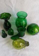 Green Glass Lot Fenton Boot Nautical Ball Vase Bottle Hand Blown Lot 7