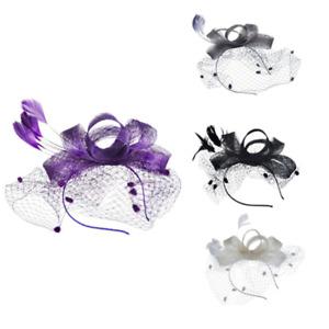 Fascinator Am Hairband Feather Flower Wedding Hair Decoration Veil Dots New