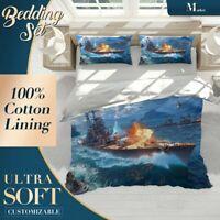 Ship Planes Beach Sea Ocean Colourful Duvet Cover Set with Matching Pillowcases