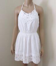 Hollister Womens Size Large Crochet Lace Halter Dress White Striped