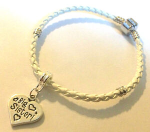 White braid bracelet choose charm from many in gift bag fast delivery