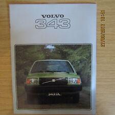 VOLVO 343 343 DL 343DL UK Market Car Sales Brochure 1978