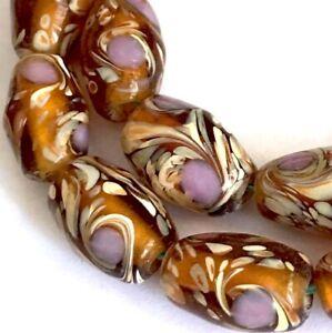 6 Lampwork Handmade Glass Amber Garden Barrel Beads 15x9mm