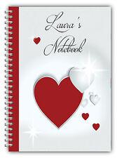 A5 Personalizzata nota LIBRO SAN VALENTINO REGALO / A5 Notebook / 50 FODERATO pagine / Cuori 5