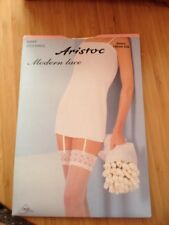 Aristoc Modern Lace Sheer Cream Silk Nylon Stockings Size Small (bx21)