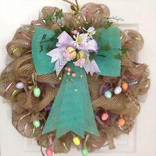 Gorgeous Floral Easter Egg Garland Deco Mesh Wreath