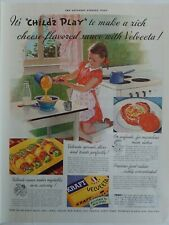1938 Velveeta Kraft cheese Child's Play little girl ponytails cooking vintage ad