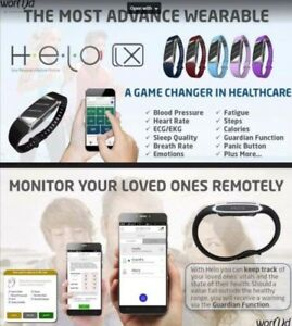 HELO LX Wrist Smartband Fitness Health Monitor Box Set with Germanium stones