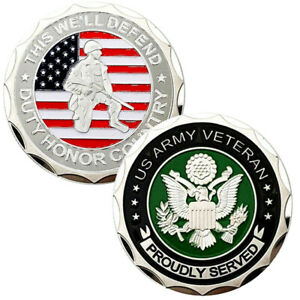 ARMY Military VETERAN Proudly Served Challenge coin Commemorative Collectible US