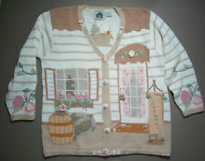 Size Large - ANTIQUES COTTAGE - Gold Accents Cardigan - Storybook Knits Sweater