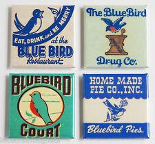 Blue Bird FRIDGE MAGNET Set (1.5 x 1.5 inches each) restaurant sign cafe