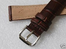Nice New 18MM Brown Color Croco Grain Genuine Leather Watch Band
