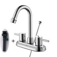 """4"""" Chrome Bathroom Sink Faucet 3 Hole Mixer Tap + Pop Up Drain Lavatory 2 Handle"""