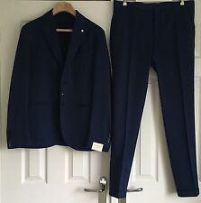 LBM 1911 Lubiam Men's Dandy Ltd Edition Mid Blue Slim Fit Cotton Suit Eu 56 New