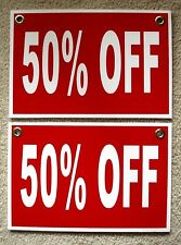 """(2)  50% OFF Plastic Coroplast RETAIL STORE SIGNS  w/Grommets  8"""" X 12""""  white"""
