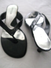 "Aerosoles What's What Black ""Kool It"" Patent Leather Mule Slides 8.5M  2"" Heel"