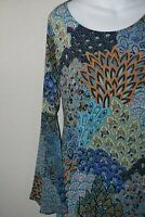 Peacock Flowy Prelude Bell Sleeve Women's Dress Tunic Flare Retro Look Small