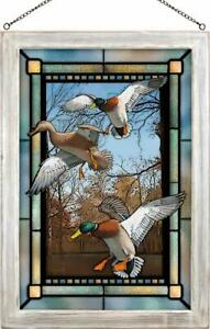 David A Maass Greenhead Haven Mallards Framed Stained Glass Window Panel