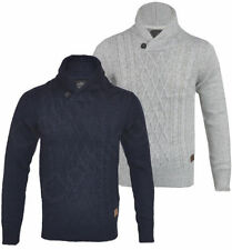 Men's No Pattern Funnel Neck Chunky, Cable Knit Knit Jumpers & Cardigans