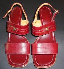 Vintage Burgundy/Oxblood Leather Etienne Aigner Sling Back Strappy Sandals Sz 9M