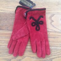VTG Womens Van Raalte Red Suede Acrylic Lined Gloves Size M NOS