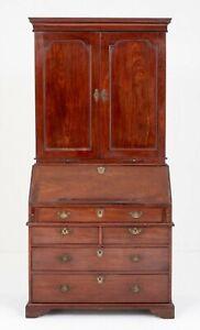 Georgian Bureau Bookcase Mahogany Antique