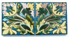 """Pair of screen printed 6""""sq reproduction tiles by Decorative Tile Works, c1989"""