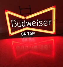 BUDWEISER ON TAP Neon Bow Tie Beer FRANCE Sign Co Man Cave Bar Vtg Working!
