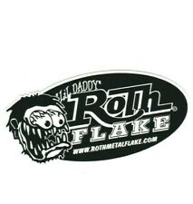 Lil Daddy Roth Metal Flake Oval Logo Sticker B&W Hot Rod Chopper Kustom Kulture