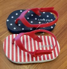 NEW Old Navy Baby 12-18 MONTHS / SIZE 4 Unisex Stars Stripes Flip Flops July 4th
