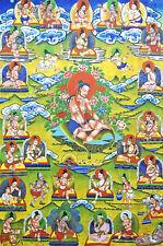 14 Inch Brocade Wood Scroll Tibet Thangka Buddism Founders Kagyu Sect - Tilopa