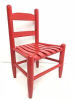 "VTG Antique Wooden Slat Red Child's Chair - Fresh Paint! 22"" Tall: Doll, Bear"