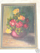 VINTAGE FLORAL YELLOW PINK ROSES ORIGINAL OIL PAINTING ARTIST SIGNED 1937