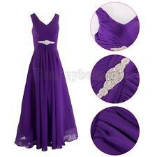 Women Chiffon Prom Evening Party Ball Gown Bridesmaid Wedding Maxi Dress AU