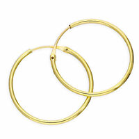 Real 375 9ct Gold 1.2mm Tube Hoop Earrings 8mm - 20mm