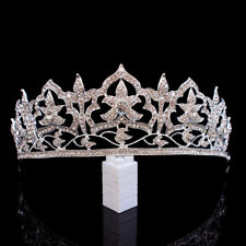 5cm High White Flower Clear Crystal Adult Big Tiara Crown Wedding Prom Party