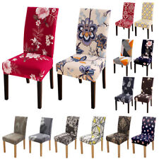 1/4/6pcs Spandex Stretch Printed Dining Chair Covers Slipcovers Home Dining Room
