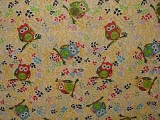 4 Metres Owls Linen Cotton Fabric Curtain Upholstery Quilting Craft Cushion Owl