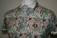 """Fred Perry x Liberty Twin Tipped Colourful Paisley Polo Shirt 36"""" / S RARE Top"""